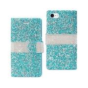 Reiko Apple iphone 7 Jewelry Rhinestone Wallet Case, Blue (RKWL11854)