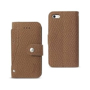 Reiko Apple iphone Se Wallet Case with Slide Out Pocket & Fold Stand, Brown (RKWL12113)