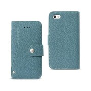 Reiko Apple iphone Se Wallet Case with Slide Out Pocket & Fold Stand, Navy (RKWL12115)