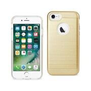 Reiko Apple iphone 7 Hybrid Metal Brushed Texture Case, Gold (RKWL12597)