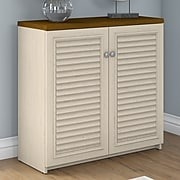 Bush Furniture Fairview Small Storage Cabinet with Doors, Antique White/Tea Maple (WC53296-03)