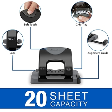 Swingline SmartTouch Low Force 2-Hole Punch, 20 Sheet Capacity, Black/Gray (A7074135)