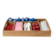 Mind Reader Serve 6 Compartment Bamboo Serving Tray With Handles, Brown (Straybm-Brn)