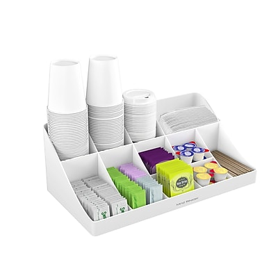 Mind Reader 'Pioneer' 11 Compartment Break Room Coffee Condiment Organizer, White (COMORG-WHT)