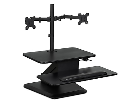Mount-It! Sit Stand Workstation Standing Desk Converter With Dual Monitor Mount