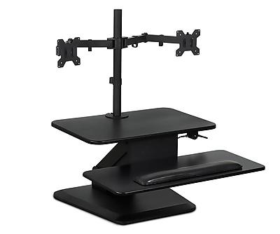 Mount-It! Sit Stand Desk Converter, Standing Desk Workstation with Dual Monitor Desk Mount Stand, Height Adjustable (MI-7914)