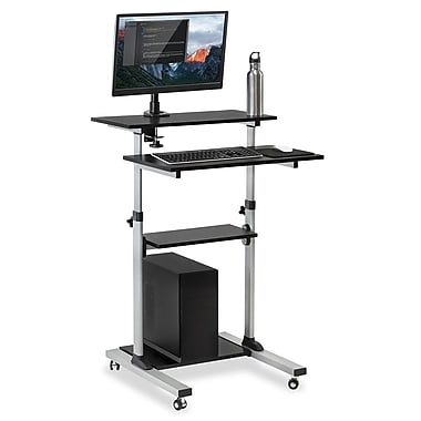 Mount-It! Mobile Stand Up Desk / Height Adjustable Computer Work Station(Stand-Up Desk + Monitor Mount)