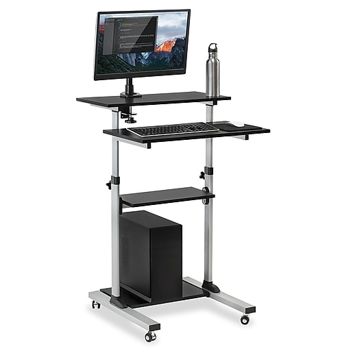 brand new 88648 42deb Mount-It! Rolling Sit-Stand Computer Workstation, Height Adjustable  Stand-Up Mobile Presentation Cart, SILVER (MI-7942)