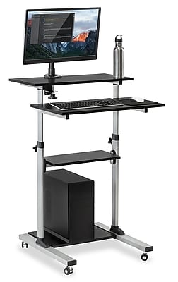 Mount It! Rolling Sit Stand Computer Workstation, Height Adjustable Stand Up  Mobile Presentation Cart, SILVER (MI 7942)