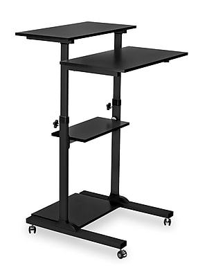 "Mount-It! 27.5""W Mobile Adjustable Desk, Black, Plastic/Steel (MI-7940)"