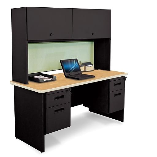 "Pronto Desk 60"" x 24"" Double File Pedestal with Overhead Oak/Black/Peridot Green (762805009526)"