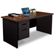 "Pronto Desk 60"" x 30"" Single File Pedestal Mahogany/Black (762805008642)"