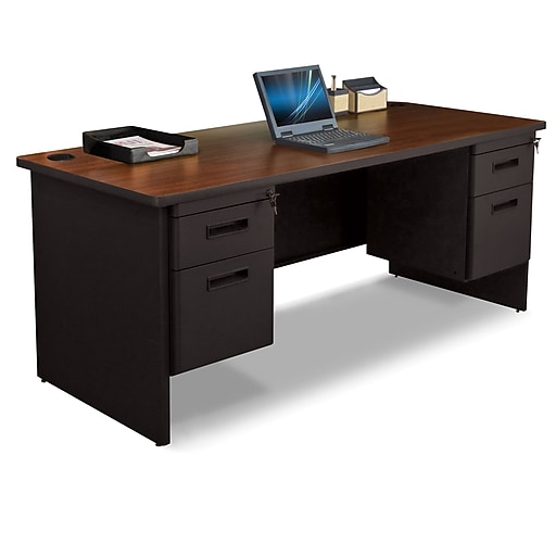"Pronto Desk 72"" x 30"" Double File Pedestal Mahogany/Black (762805008734)"