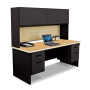"""Pronto Desk 72"""" x 30"""" Double File Pedestal with Overhead Oak/Black/Beryl Tan (762805009175)"""
