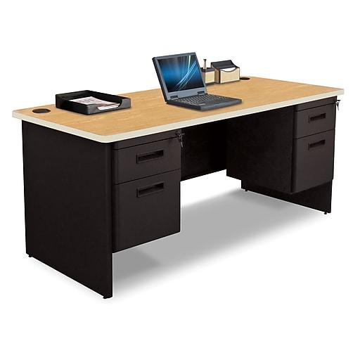 "Pronto Desk 66"" x 30"" Double File Pedestal Oak/Black (762805008680)"