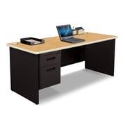 "Pronto Desk 72"" x 30"" Single File Pedestal Oak/Black (762805008772)"