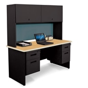 "Pronto Desk 60"" x 24"" Double File Pedestal with Overhead Oak/Black/Slate Blue (762805009557)"