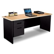 "Pronto Credenza 72"" x 24"" Single File Pedestal Oak/Black (762805008567)"
