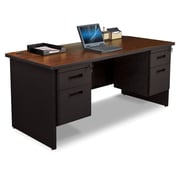 "Pronto Desk 66"" x 30"" Double File Pedestal Mahogany/Black (762805008673)"