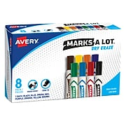 Avery Marks A Lot Desk-Style Dry Erase Markers, Chisel Tip, Assorted Colors, 8 Markers per Set(24411)