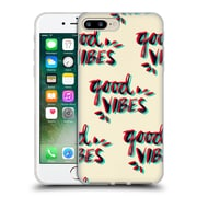 Official Cat Coquillette Quotes Typography 4 Good Vibes Red Cyan Soft Gel Case For Apple Iphone 7 Plus