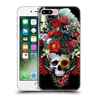 Official Riza Peker Skulls 4 Flowers Soft Gel Case For Apple Iphone 7 Plus