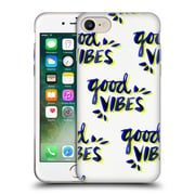 Official Cat Coquillette Quotes Typography 4 Good Vibes Navy Yellow Soft Gel Case For Apple Iphone 7