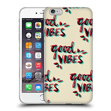Official Cat Coquillette Quotes Typography 4 Good Vibes Red Cyan Soft Gel Case For Apple Iphone 6 Plus / 6S Plus