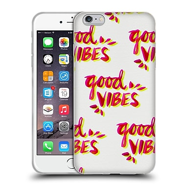 Official Cat Coquillette Quotes Typography 4 Good Vibes Yellow Pink Soft Gel Case For Apple Iphone 6 Plus / 6S Plus