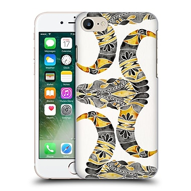Official Cat Coquillette Watercolour Illustrations 2 Black Yellow Water Buffalo Skull Hard Back Case For Apple Iphone 7