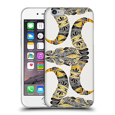 Official Cat Coquillette Watercolour Illustrations 2 Black Yellow Water Buffalo Skull Soft Gel Case For Apple Iphone 6 / 6S