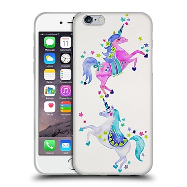 Official Cat Coquillette Watercolour Illustrations Unicorns Pastel Soft Gel Case For Apple Iphone 6 / 6S
