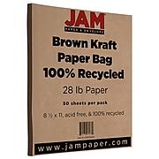 JAM Paper® Matte 28lb Paper, 8.5 x 11, Brown Kraft, 50 Sheets/Pack (LEKR36926)