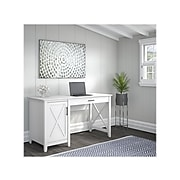 "Bush Furniture Key West 54"" Computer Desk with Storage, Pure White Oak (KWD154WT-03)"