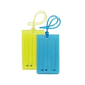 Travelway PVC Luggage ID Tags, Lime/Blue, 4  (RQ26633-1)