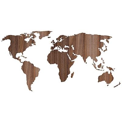 Paperflow Office Deco Wall Transfers, Wooden Worldmap 43