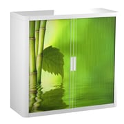 """Paperflow easyOffice Storage Cabinet, 41"""" Tall with Two Shelves, Bamboo with Leaf (3024)"""
