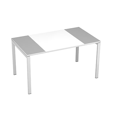 "Paperflow easyDesk Training Table 55"" Long, White Middle with Gray Ends (37165)"