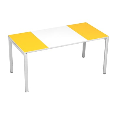 "Paperflow easyDesk Training Table, 63"" Long, White Middle with Yellow Ends (31338)"