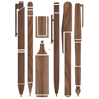 Paperflow Office Deco Wall Transfers, Wooden Pen Collection 25