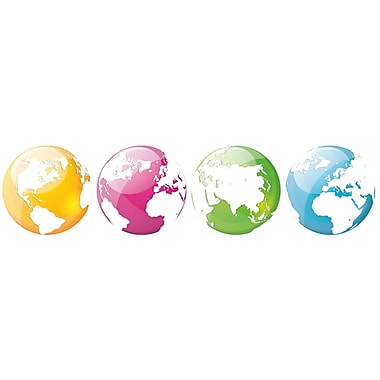 Paperflow Office Deco Wall Transfers, Colorful Globes 6.5