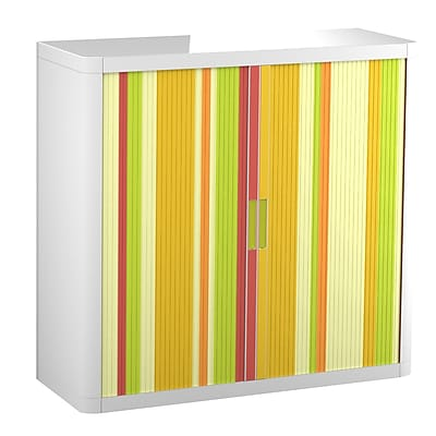 "Paperflow easyOffice Storage Cabinet, 41"" Tall with Two Shelves, Yellow Green and Red Vertical Stripe (31317)"