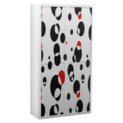 "Paperflow easyOffice Storage Cabinet, 80"" Tall with Four Shelves, Black and Red Bubbles (31313)"