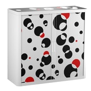 "Paperflow easyOffice Storage Cabinet, 41"" Tall with Two Shelves, Black and Red Bubbles (1518)"