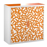 "Paperflow easyOffice Storage Cabinet, 41"" Tall with Two Shelves, Orange Alphabet (31197)"