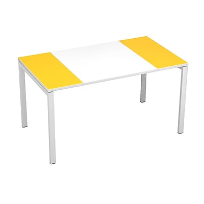 """Paperflow easyDesk Training Table, 55"""" Long, White Middle with Yellow Ends (31341)"""