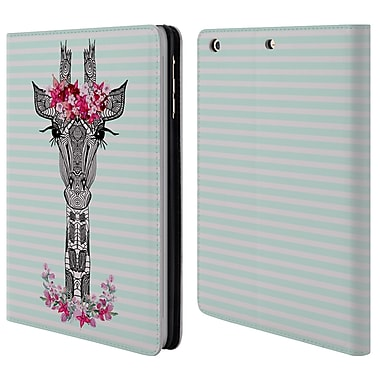 Official Monika Strigel Flower Giraffe And Stripes Mint Leather Book Wallet Case Cover For Apple Ipad Mini 1 / 2 / 3