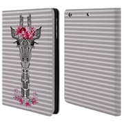 Official Monika Strigel Flower Giraffe And Stripes Grey Leather Book Wallet Case Cover For Apple Ipad Mini 1 / 2 / 3