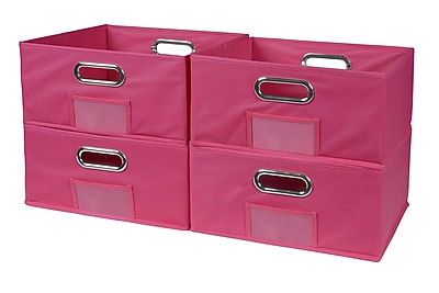 Niche Cubo Half-Size Foldable Fabric Storage Bins- Pink (HTOTE064PKPK)