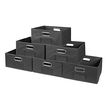 Niche Cubo Half-Size Foldable Fabric Storage Bins- Grey (HTOTE0612PKGY)